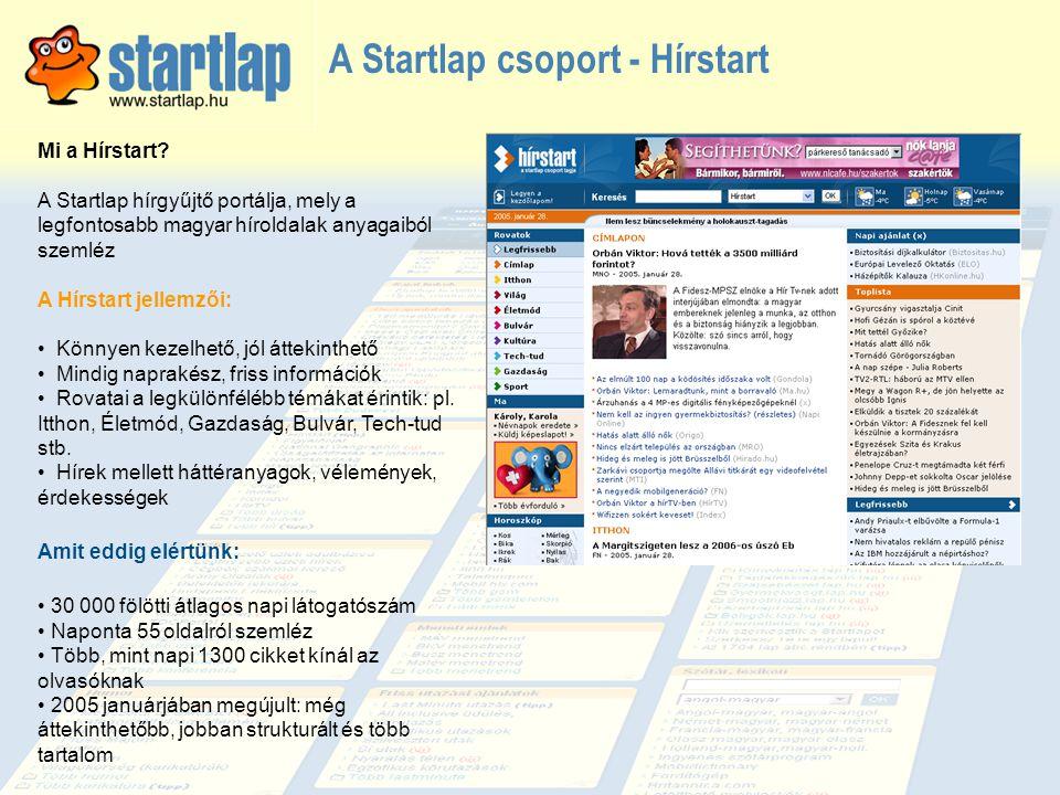 Startlap nyitóoldali látogatottság A Startlap 2005-ben szinte minden nap közelíti az 500 000 egyedi látogatót.