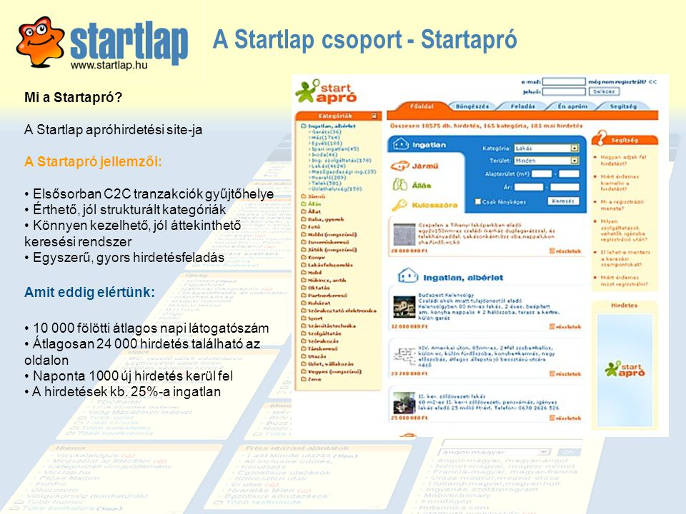 Mi a Startapró? A Startlap apróhirdetési site-ja A Startapró jellemzői: • Elsősorban C2C tranzakciók gyűjtőhelye • Érthető, jól strukturált kategóriák