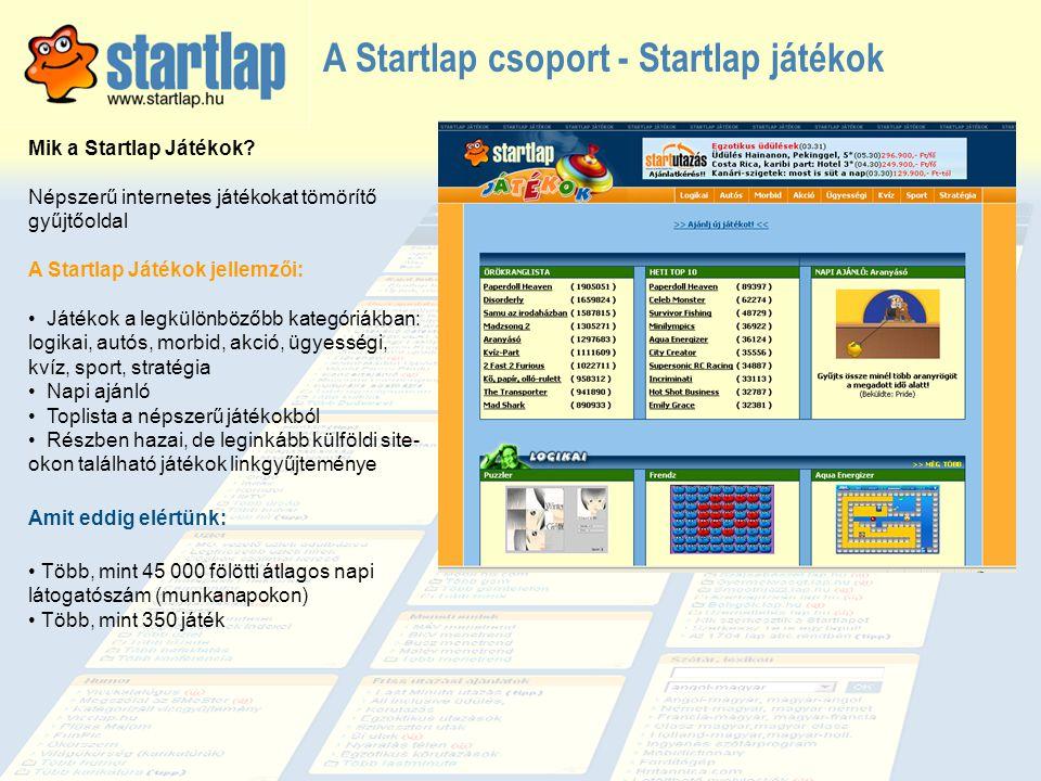 A Startlap csoport - Startlap játékok Mik a Startlap Játékok? Népszerű internetes játékokat tömörítő gyűjtőoldal A Startlap Játékok jellemzői: • Játék
