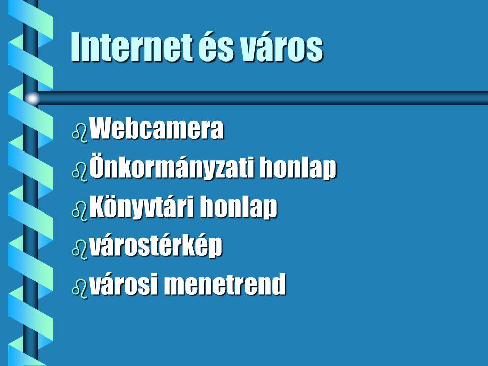 Internet és város b Webcamera b Önkormányzati honlap b Könyvtári honlap b várostérkép b városi menetrend
