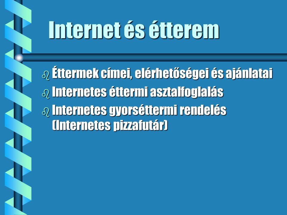 Internet és étterem b Éttermek címei, elérhetőségei és ajánlatai b Internetes éttermi asztalfoglalás b Internetes gyorséttermi rendelés (Internetes pizzafutár)
