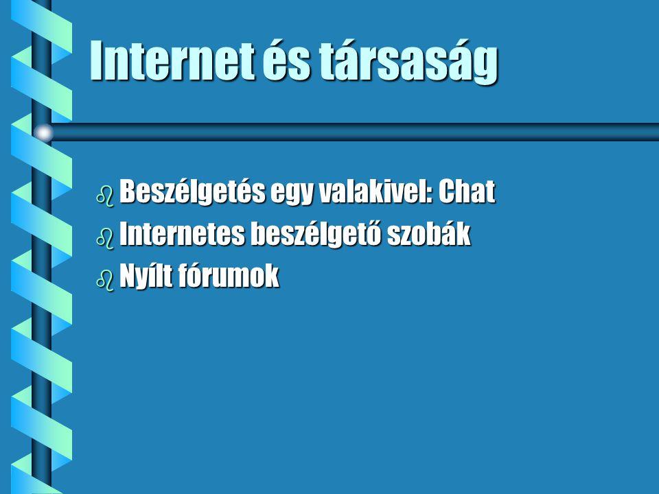Internet és társaság b Beszélgetés egy valakivel: Chat b Internetes beszélgető szobák b Nyílt fórumok