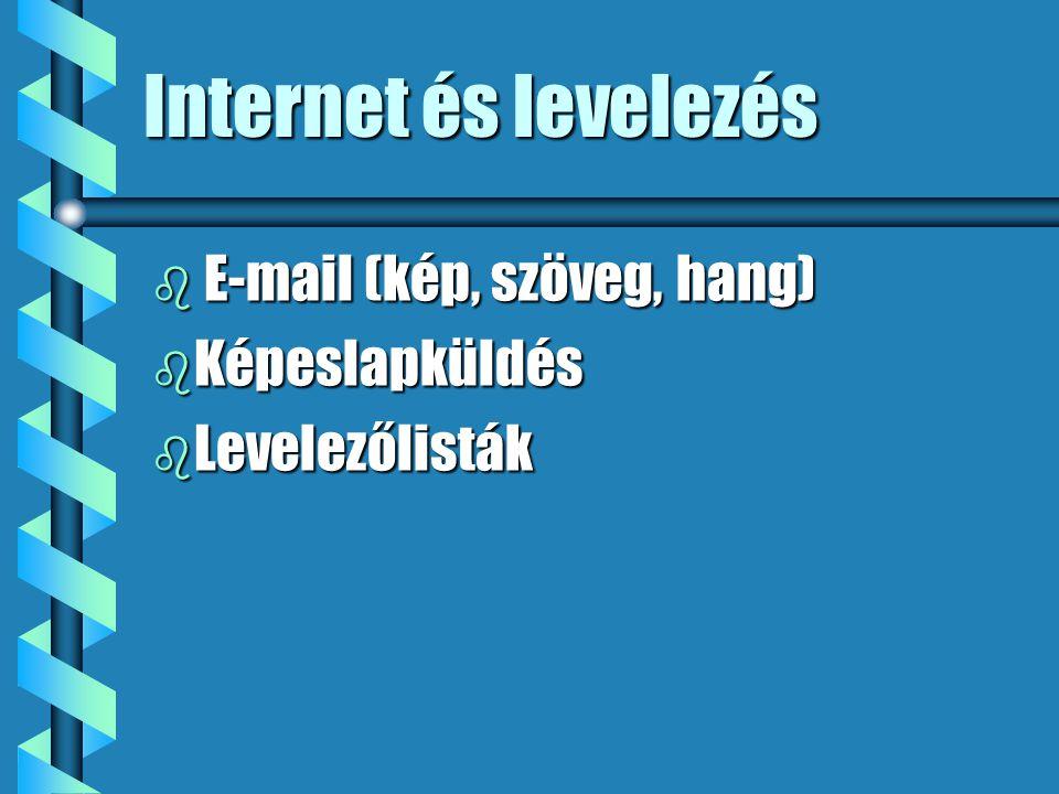Internet és levelezés b E-mail (kép, szöveg, hang) b Képeslapküldés b Levelezőlisták