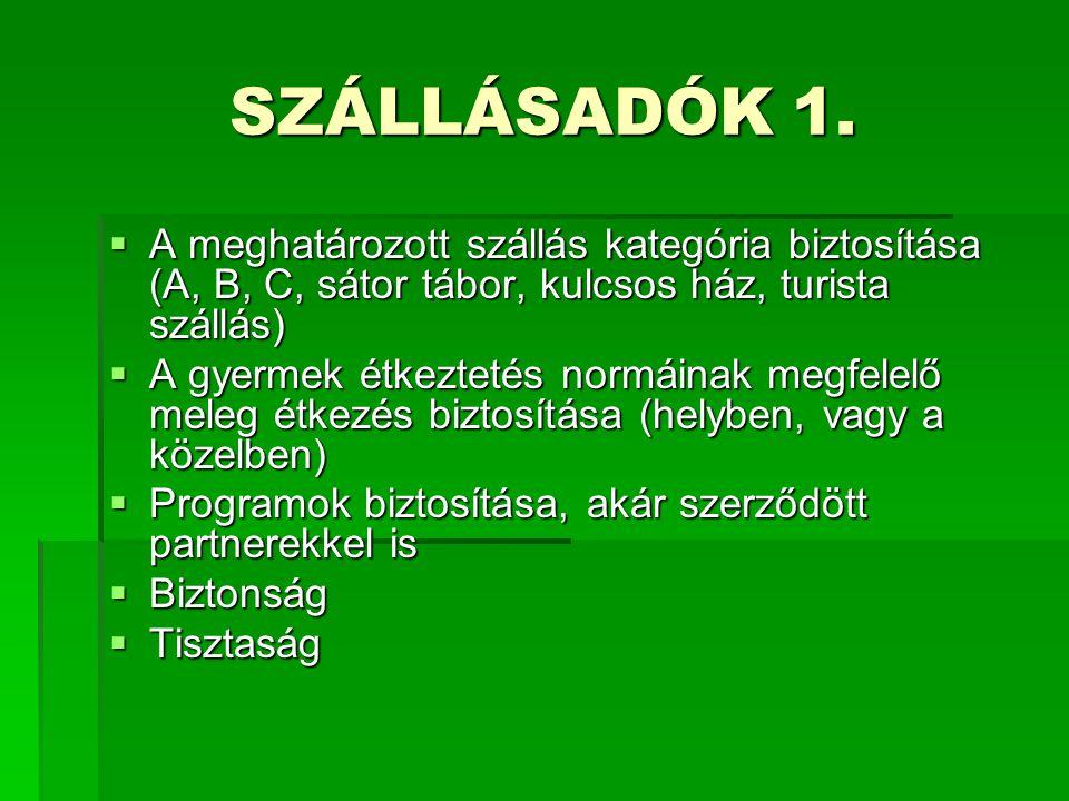 SZÁLLÁSADÓK 1.