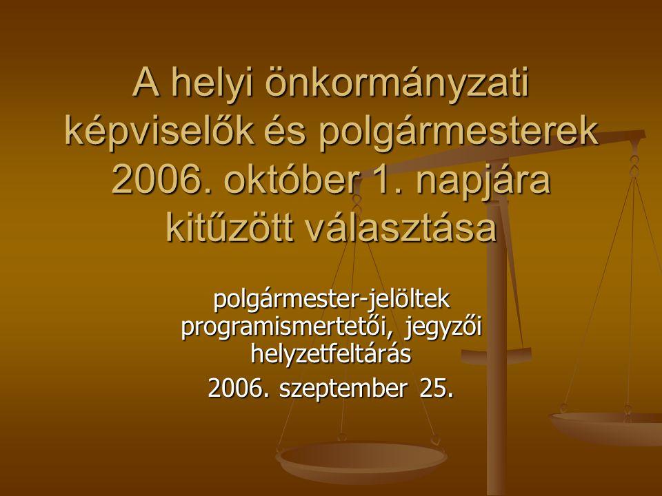 A helyi önkormányzati képviselők és polgármesterek 2006. október 1. napjára kitűzött választása polgármester-jelöltek programismertetői, jegyzői helyz