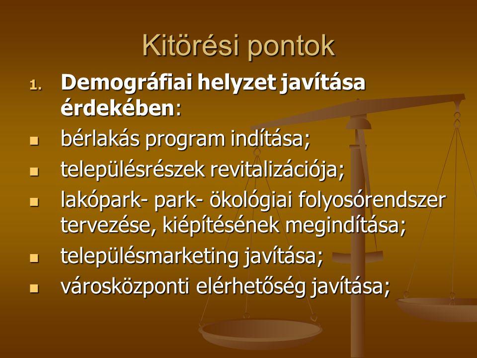 Kitörési pontok 1. Demográfiai helyzet javítása érdekében:  bérlakás program indítása;  településrészek revitalizációja;  lakópark- park- ökológiai