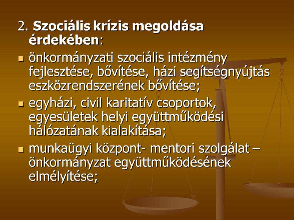2. Szociális krízis megoldása érdekében:  önkormányzati szociális intézmény fejlesztése, bővítése, házi segítségnyújtás eszközrendszerének bővítése;