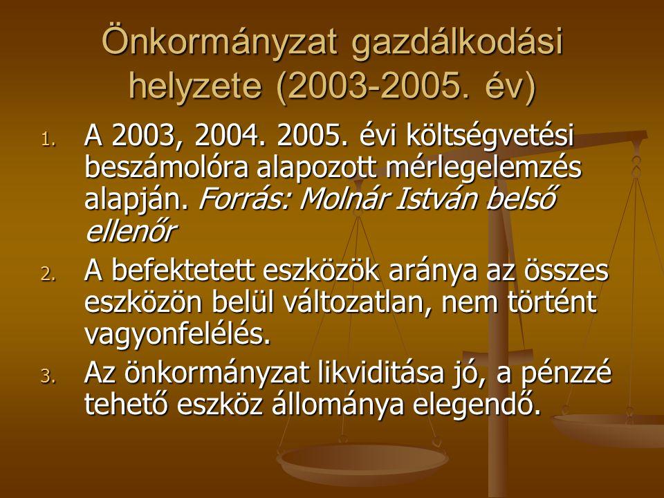 Önkormányzat gazdálkodási helyzete (2003-2005. év) 1. A 2003, 2004. 2005. évi költségvetési beszámolóra alapozott mérlegelemzés alapján. Forrás: Molná