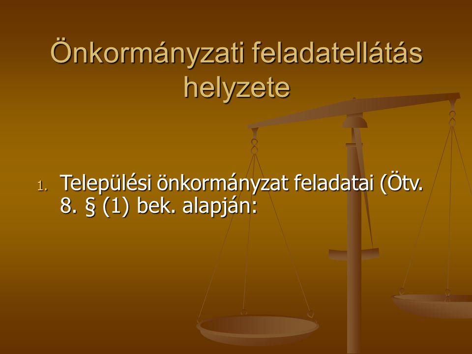 Önkormányzati feladatellátás helyzete 1. Települési önkormányzat feladatai (Ötv. 8. § (1) bek. alapján: