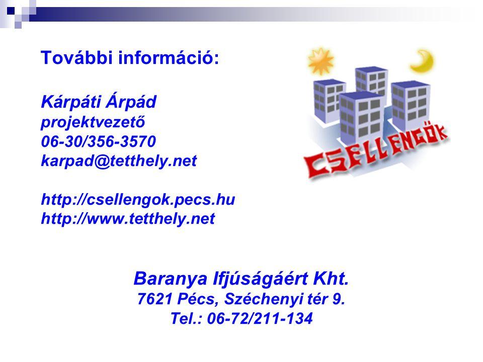 További információ: Kárpáti Árpád projektvezető 06-30/356-3570 karpad@tetthely.net http://csellengok.pecs.hu http://www.tetthely.net Baranya Ifjúságáé