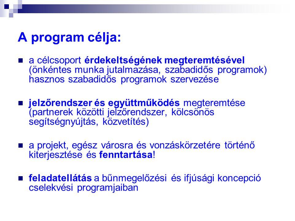 A program célja:  a célcsoport érdekeltségének megteremtésével (önkéntes munka jutalmazása, szabadidős programok) hasznos szabadidős programok szerve