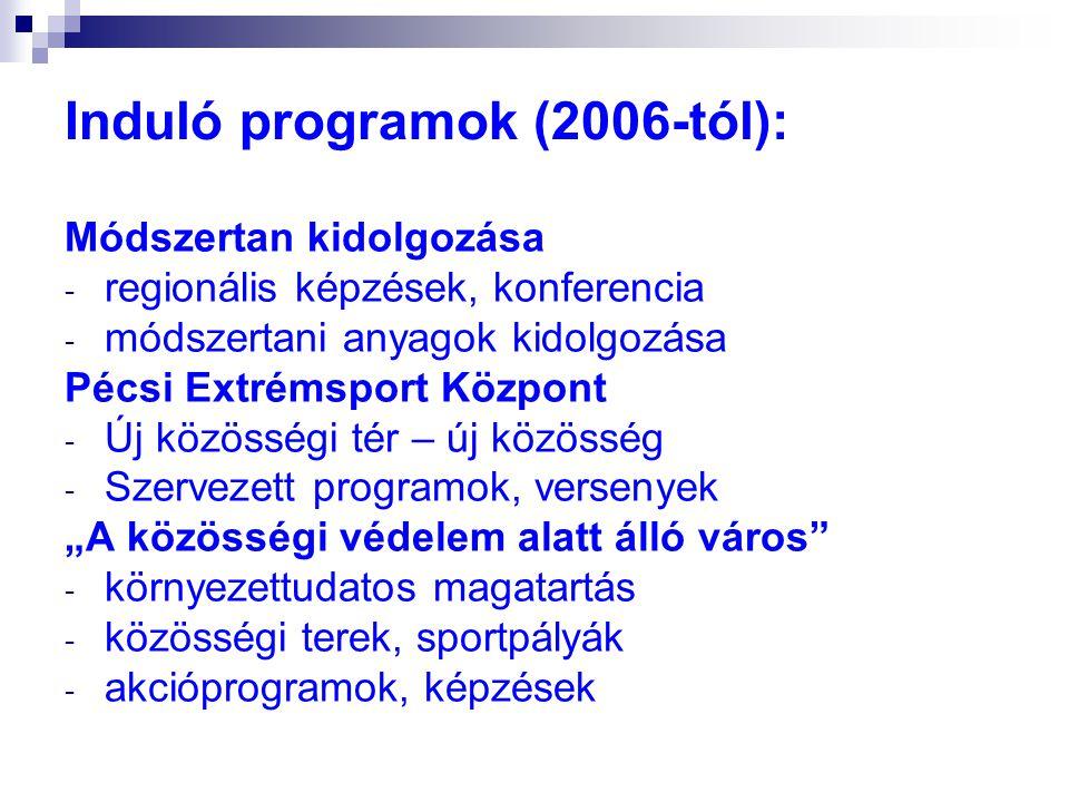 Módszertan kidolgozása - regionális képzések, konferencia - módszertani anyagok kidolgozása Pécsi Extrémsport Központ - Új közösségi tér – új közösség