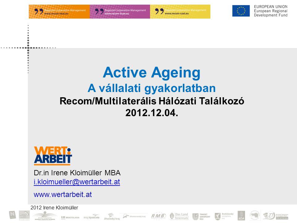 2012 Irene Kloimüller Active Ageing A vállalati gyakorlatban Recom/Multilaterális Hálózati Találkozó 2012.12.04.
