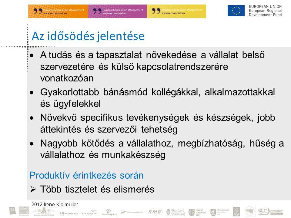 2012 Irene Kloimüller Az idősödés jelentése  A tudás és a tapasztalat növekedése a vállalat belső szervezetére és külső kapcsolatrendszerére vonatkozóan  Gyakorlottabb bánásmód kollégákkal, alkalmazottakkal és ügyfelekkel  Növekvő specifikus tevékenységek és készségek, jobb áttekintés és szervezői tehetség  Nagyobb kötődés a vállalathoz, megbízhatóság, hűség a vállalathoz és munkakészség Produktív érintkezés során  Több tisztelet és elismerés