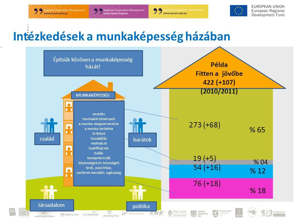 2012 Irene Kloimüller 273 (+68) 19 (+5) 54 (+16) 76 (+18) Példa Fitten a jövőbe 422 (+107) (2010/2011) Intézkedések a munkaképesség házában Építsük közösen a munkaképesség házát.