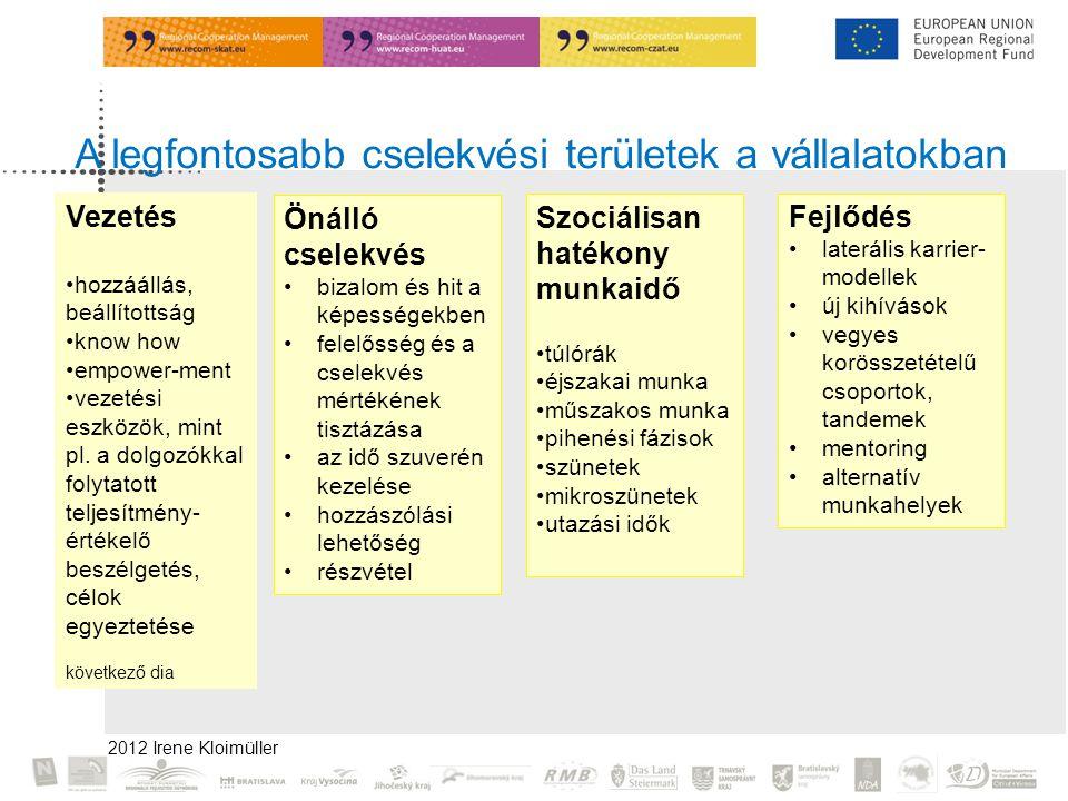 2012 Irene Kloimüller A legfontosabb cselekvési területek a vállalatokban Fejlődés •laterális karrier- modellek •új kihívások •vegyes korösszetételű csoportok, tandemek •mentoring •alternatív munkahelyek Önálló cselekvés •bizalom és hit a képességekben •felelősség és a cselekvés mértékének tisztázása •az idő szuverén kezelése •hozzászólási lehetőség •részvétel Szociálisan hatékony munkaidő •túlórák •éjszakai munka •műszakos munka •pihenési fázisok •szünetek •mikroszünetek •utazási idők Vezetés •hozzáállás, beállítottság •know how •empower-ment •vezetési eszközök, mint pl.