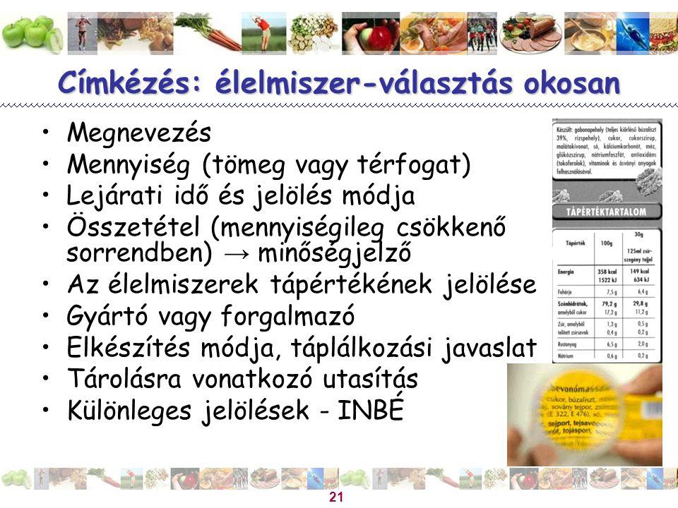 21 Címkézés: élelmiszer-választás okosan •Megnevezés •Mennyiség (tömeg vagy térfogat) •Lejárati idő és jelölés módja •Összetétel (mennyiségileg csökke