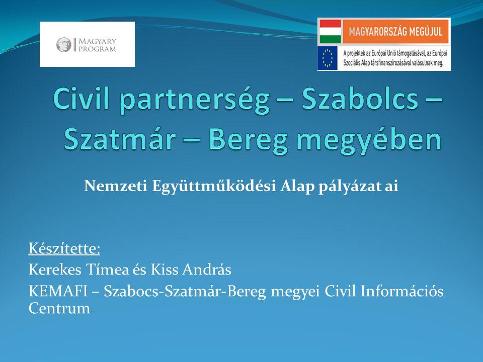 Civil Információs Centrum általában  az Emberi Erőforrás Minisztérium szakmai partnere  Szabolcs-Szatmár-Bereg megyében a Kelet – Magyarországi Fiatalokért Alapítvány látja el feladata a civil szervezetek
