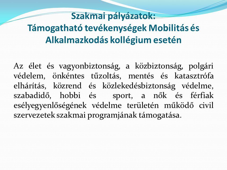 Szakmai pályázatok: Támogatható tevékenységek Mobilitás és Alkalmazkodás kollégium esetén Az élet és vagyonbiztonság, a közbiztonság, polgári védelem,