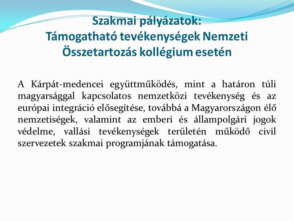 Szakmai pályázatok: Támogatható tevékenységek Nemzeti Összetartozás kollégium esetén A Kárpát-medencei együttműködés, mint a határon túli magyarsággal