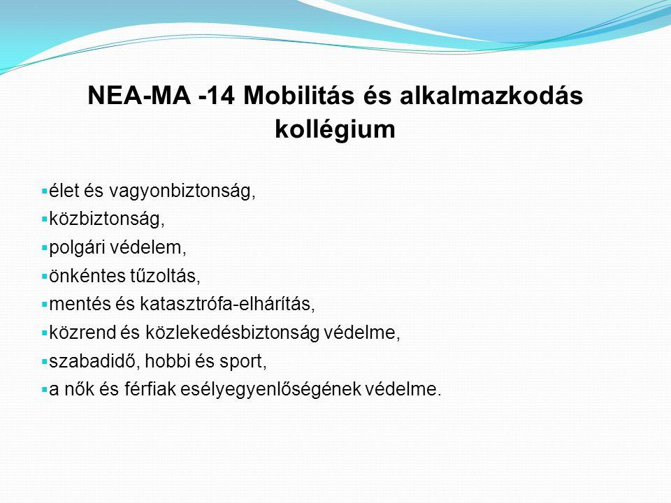 NEA-MA -14 Mobilitás és alkalmazkodás kollégium  élet és vagyonbiztonság,  közbiztonság,  polgári védelem,  önkéntes tűzoltás,  mentés és kataszt