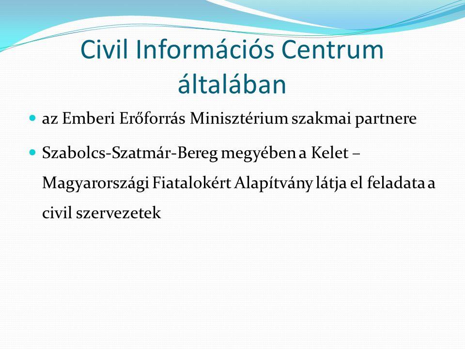 Civil szervezetek fő elvárásai  informáltság biztosítása  kapcsolati háló működtetése  a pályázati lehetőségekkel kapcsolatos folyamatos tájékoztatás  napi problémáikkal kapcsolatos tanácsadás