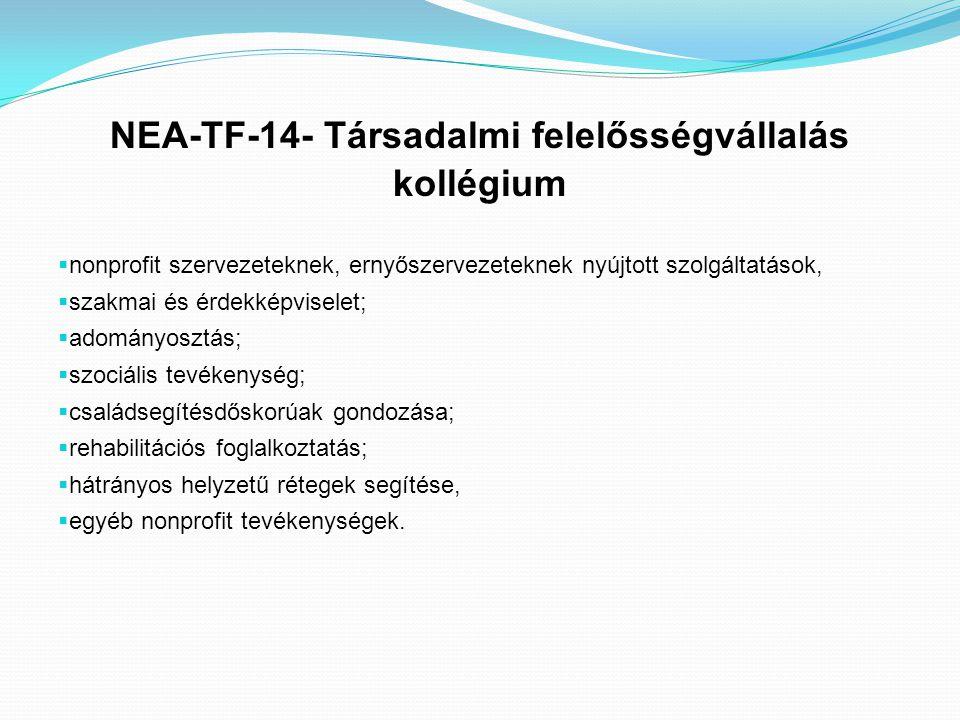 NEA-TF-14- Társadalmi felelősségvállalás kollégium  nonprofit szervezeteknek, ernyőszervezeteknek nyújtott szolgáltatások,  szakmai és érdekképvisel