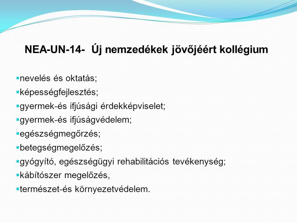 NEA-UN-14- Új nemzedékek jövőjéért kollégium  nevelés és oktatás;  képességfejlesztés;  gyermek-és ifjúsági érdekképviselet;  gyermek-és ifjúságvé