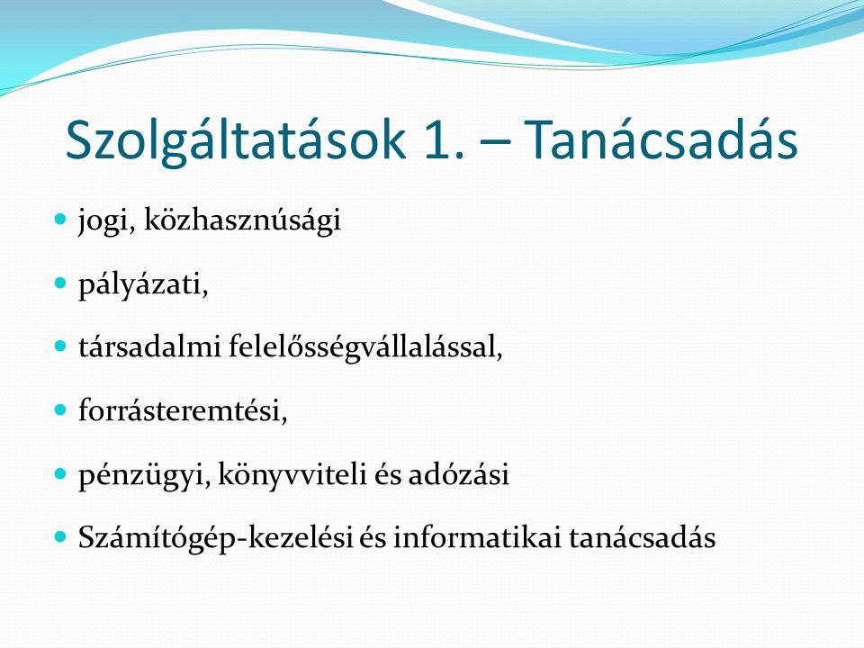 Szolgáltatások 2.:  közszférával kapcsolatos képzések  kistérségi szintű megjelenések (tanácsadás, rendezvény)  információs partnerségi napok  közfeladatot ellátó civil szolgáltatókkal való együttműködés  a vállalkozói, civil és közszféra közötti párbeszédet erősítő programok  határon átívelő magyar-magyar civil kapcsolatok erősítése