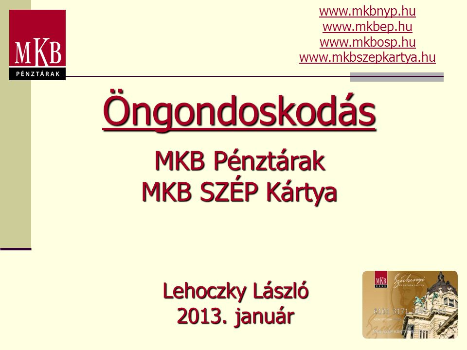 Lehoczky László 2013. január Öngondoskodás MKB Pénztárak MKB SZÉP Kártya www.mkbnyp.hu www.mkbep.hu www.mkbosp.hu www.mkbszepkartya.hu