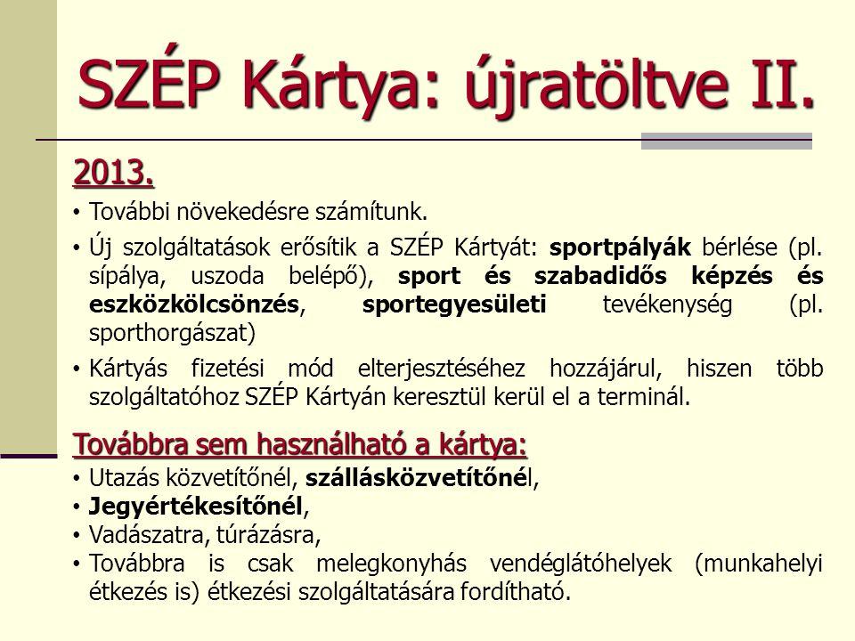 SZÉP Kártya: újratöltve II. 2013. • További növekedésre számítunk. • Új szolgáltatások erősítik a SZÉP Kártyát: sportpályák bérlése (pl. sípálya, uszo