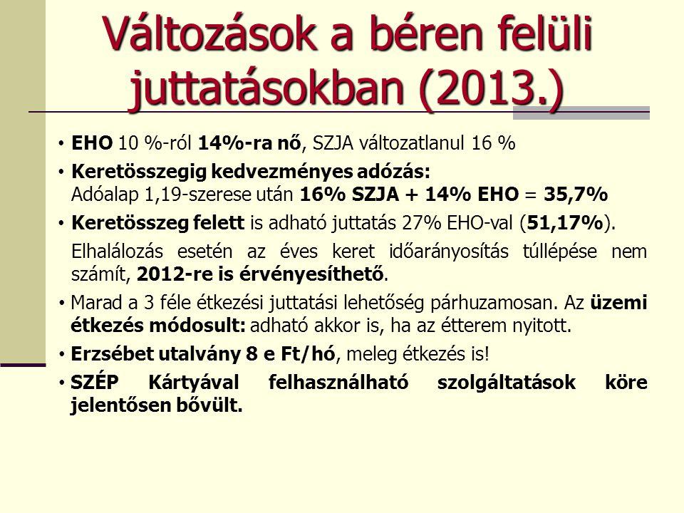 • EHO 10 %-ról 14%-ra nő, SZJA változatlanul 16 % • Keretösszegig kedvezményes adózás: Adóalap 1,19-szerese után 16% SZJA + 14% EHO = 35,7% • Keretösszeg felett is adható juttatás 27% EHO-val (51,17%).