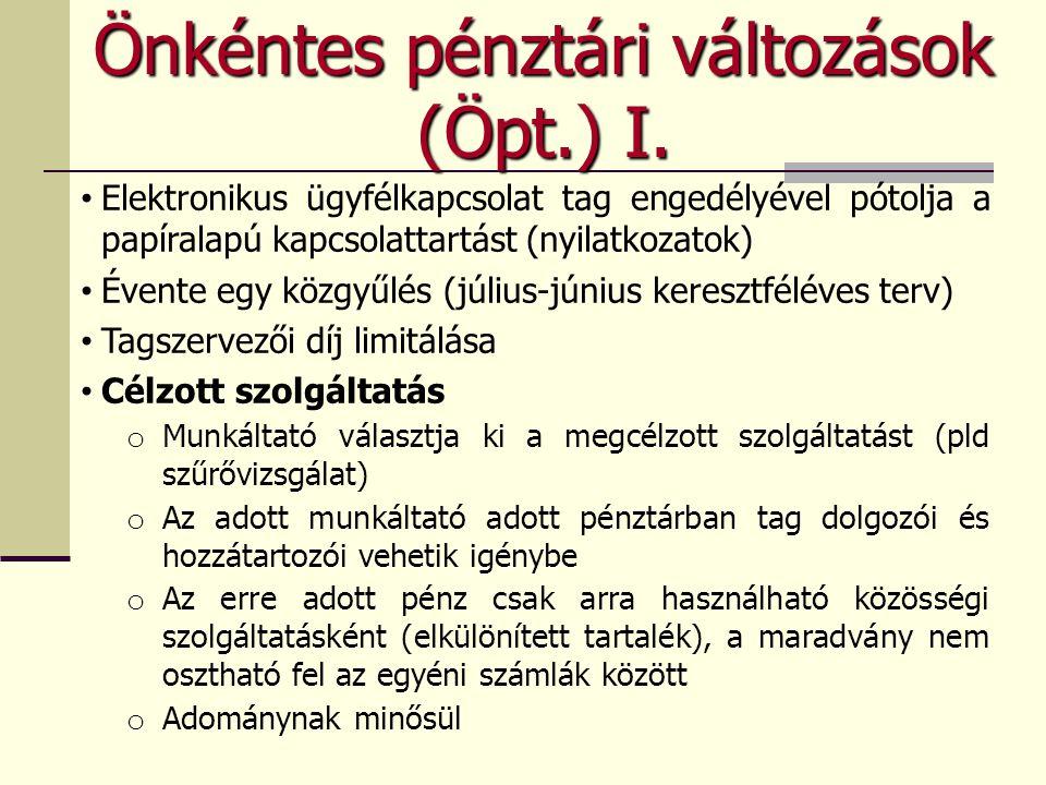 Önkéntes pénztári változások (Öpt.) I.