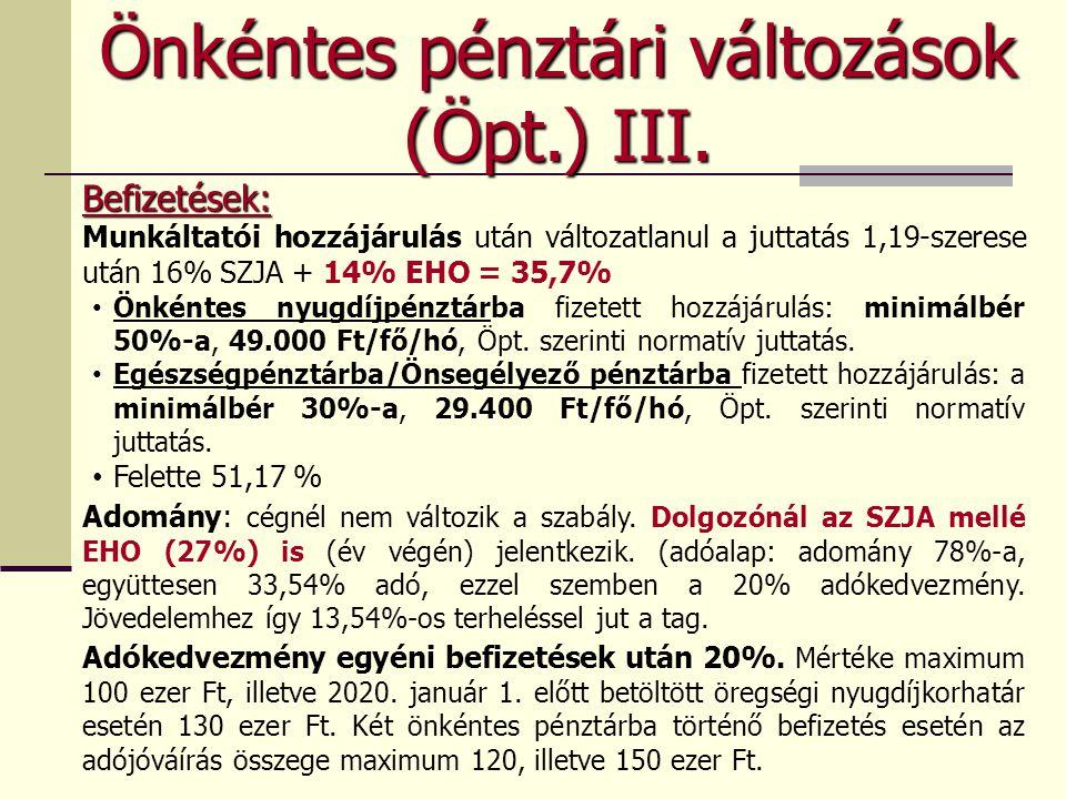 Önkéntes pénztári változások (Öpt.) III. Befizetések: Munkáltatói hozzájárulás után változatlanul a juttatás 1,19-szerese után 16% SZJA + 14% EHO = 35