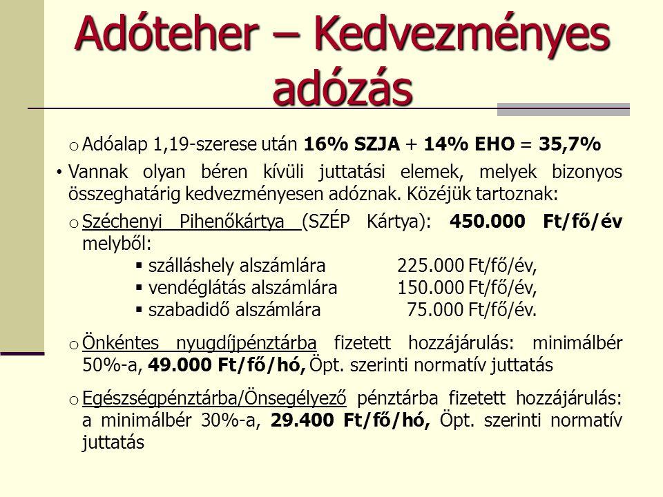 o Adóalap 1,19-szerese után 16% SZJA + 14% EHO = 35,7% • Vannak olyan béren kívüli juttatási elemek, melyek bizonyos összeghatárig kedvezményesen adóz