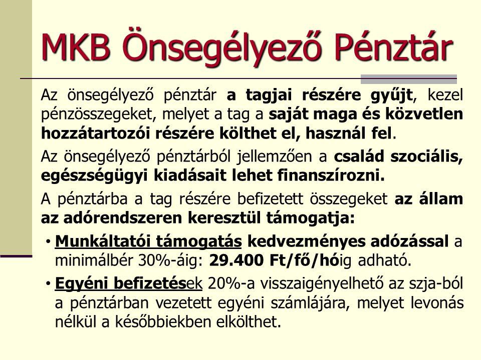 MKB Önsegélyező Pénztár Az önsegélyező pénztár a tagjai részére gyűjt, kezel pénzösszegeket, melyet a tag a saját maga és közvetlen hozzátartozói részére költhet el, használ fel.