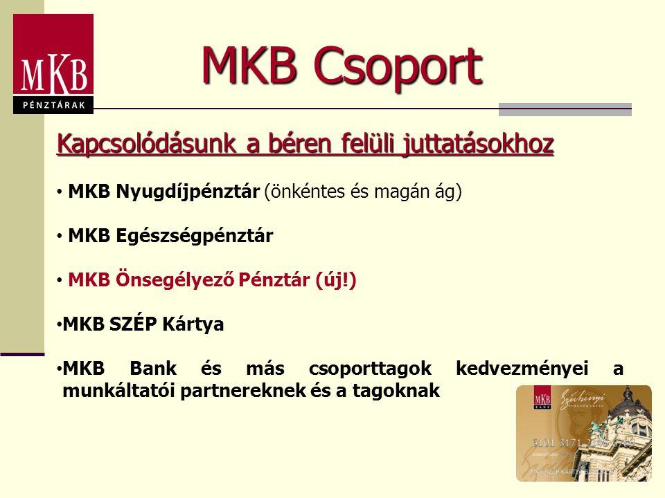 MKB Csoport • MKB Nyugdíjpénztár (önkéntes és magán ág) • MKB Egészségpénztár • MKB Önsegélyező Pénztár (új!) • MKB SZÉP Kártya • MKB Bank és más csoporttagok kedvezményei a munkáltatói partnereknek és a tagoknak Kapcsolódásunk a béren felüli juttatásokhoz