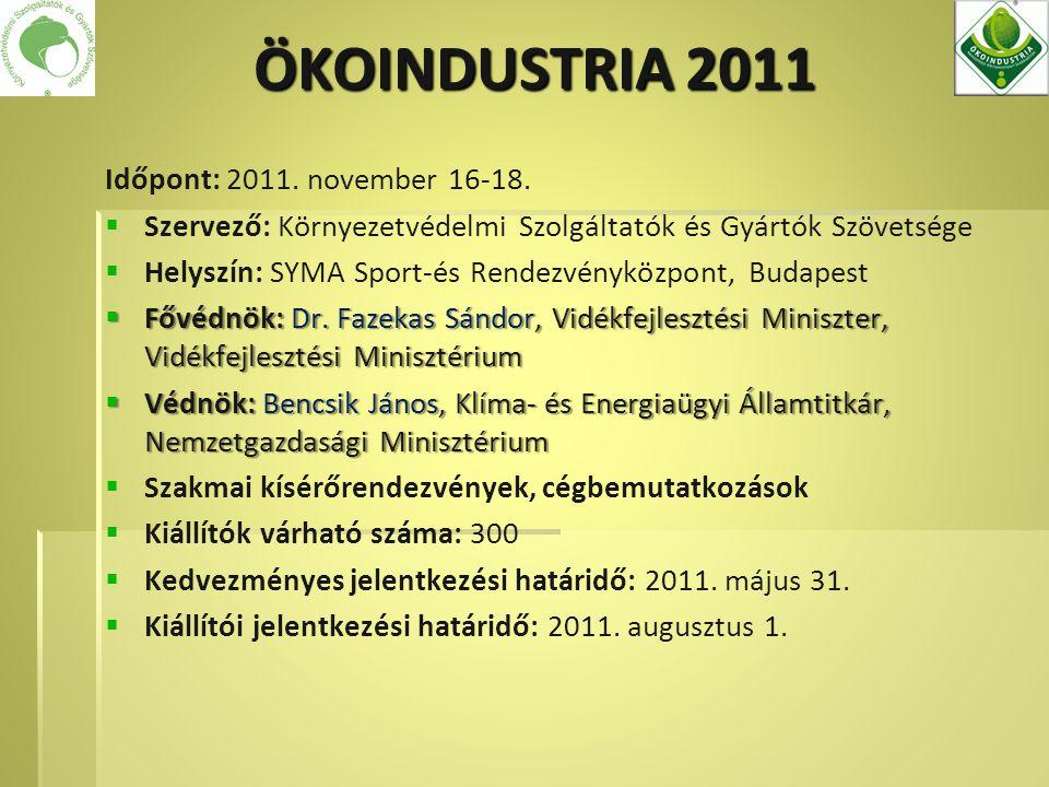 Időpont: 2011. november 16-18.   Szervező: Környezetvédelmi Szolgáltatók és Gyártók Szövetsége   Helyszín: SYMA Sport-és Rendezvényközpont, Budape