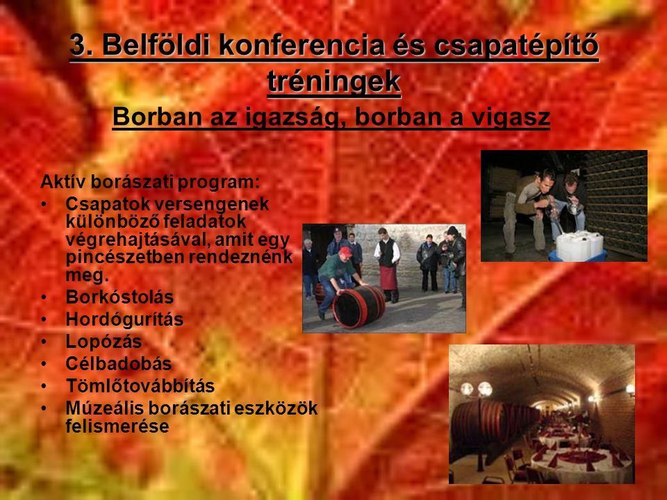 3. Belföldi konferencia és csapatépítő tréningek Aktív borászati program: •Csapatok versengenek különböző feladatok végrehajtásával, amit egy pincésze