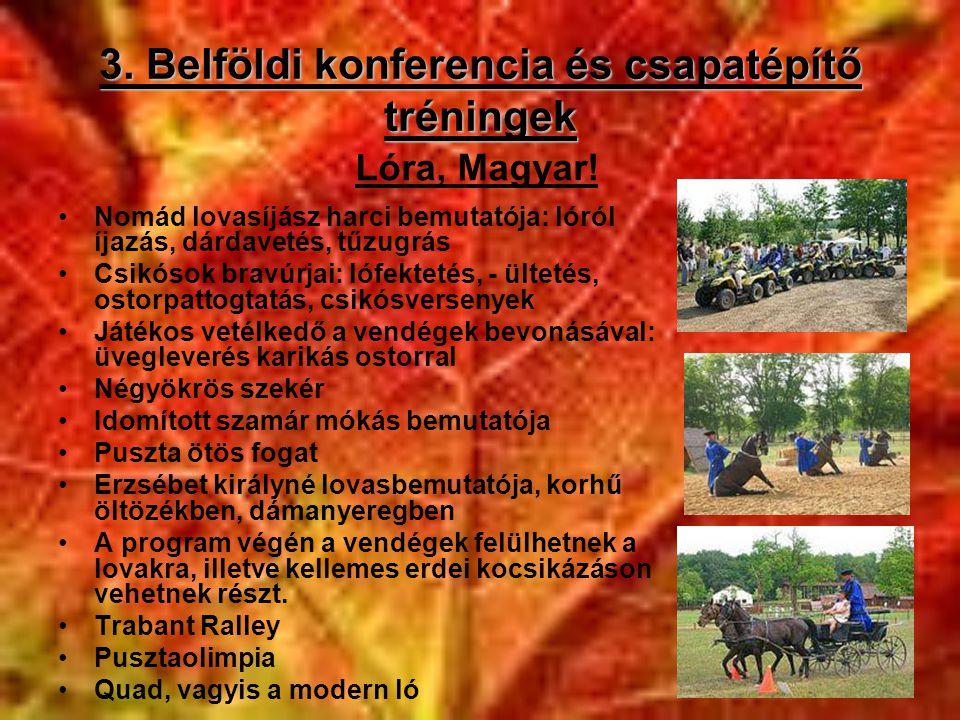 3. Belföldi konferencia és csapatépítő tréningek •Nomád lovasíjász harci bemutatója: lóról íjazás, dárdavetés, tűzugrás •Csikósok bravúrjai: lófekteté