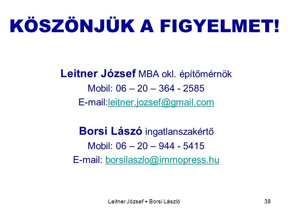 Leitner József + Borsi László38 KÖSZÖNJÜK A FIGYELMET.