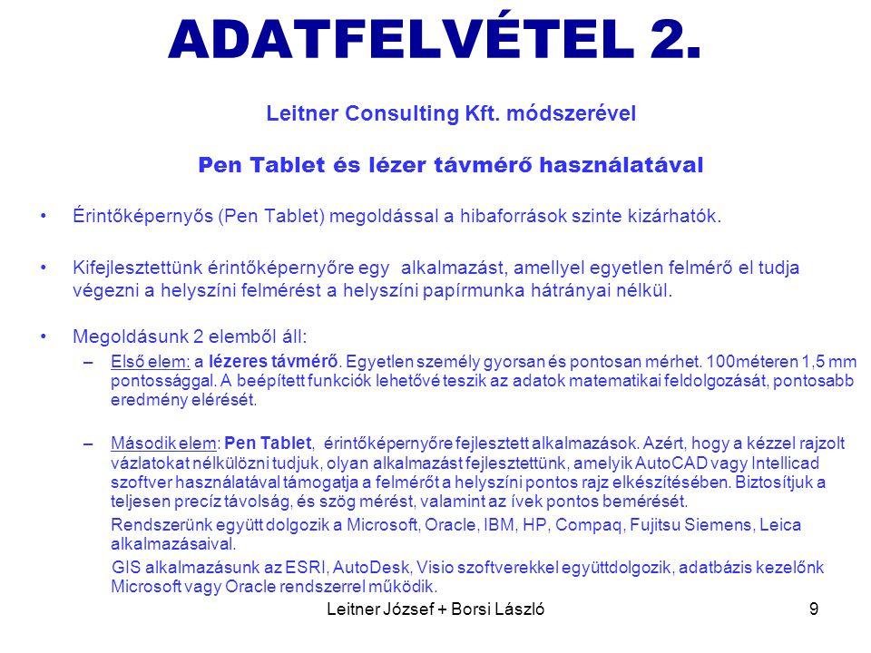 Leitner József + Borsi László9 ADATFELVÉTEL 2. Leitner Consulting Kft. módszerével Pen Tablet és lézer távmérő használatával •Érintőképernyős (Pen Tab