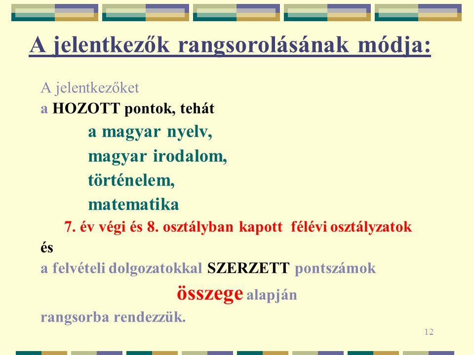 12 A jelentkezők rangsorolásának módja: A jelentkezőket a HOZOTT pontok, tehát a magyar nyelv, magyar irodalom, történelem, matematika 7. év végi és 8