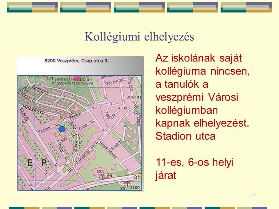 Kollégiumi elhelyezés 17 Az iskolának saját kollégiuma nincsen, a tanulók a veszprémi Városi kollégiumban kapnak elhelyezést. Stadion utca 11-es, 6-os