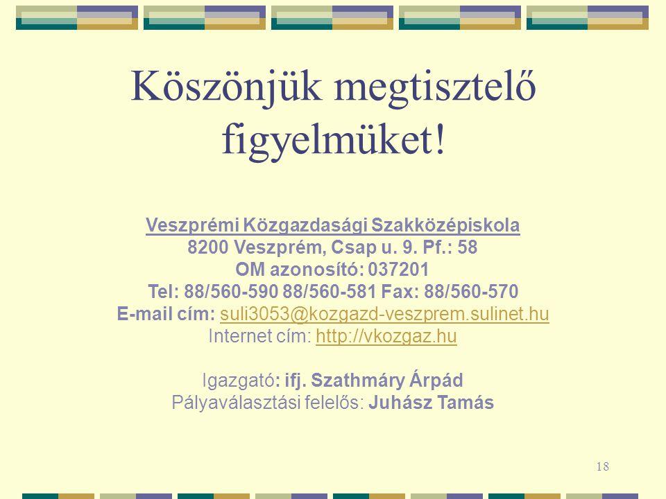 18 Köszönjük megtisztelő figyelmüket! Veszprémi Közgazdasági Szakközépiskola 8200 Veszprém, Csap u. 9. Pf.: 58 OM azonosító: 037201 Tel: 88/560-590 88