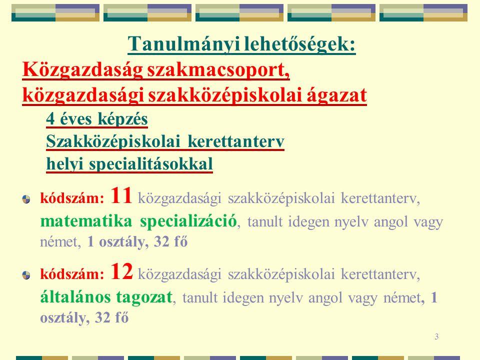 4 Tanulmányi lehetőségek: Közgazdaság szakmacsoport, közgazdasági szakközépiskolai ágazat 4 éves képzés Szakközépiskolai kerettanterv helyi specialitásokkal kódszám: 21 közgazdasági szakközépiskolai kerettanterv, idegen nyelv specializáció, tanult idegen nyelv angol, fél osztály, 16 fő kódszám: 22 közgazdasági szakközépiskolai kerettanterv, idegen nyelv specializáció, tanult idegen nyelv német, fél osztály, 16 fő