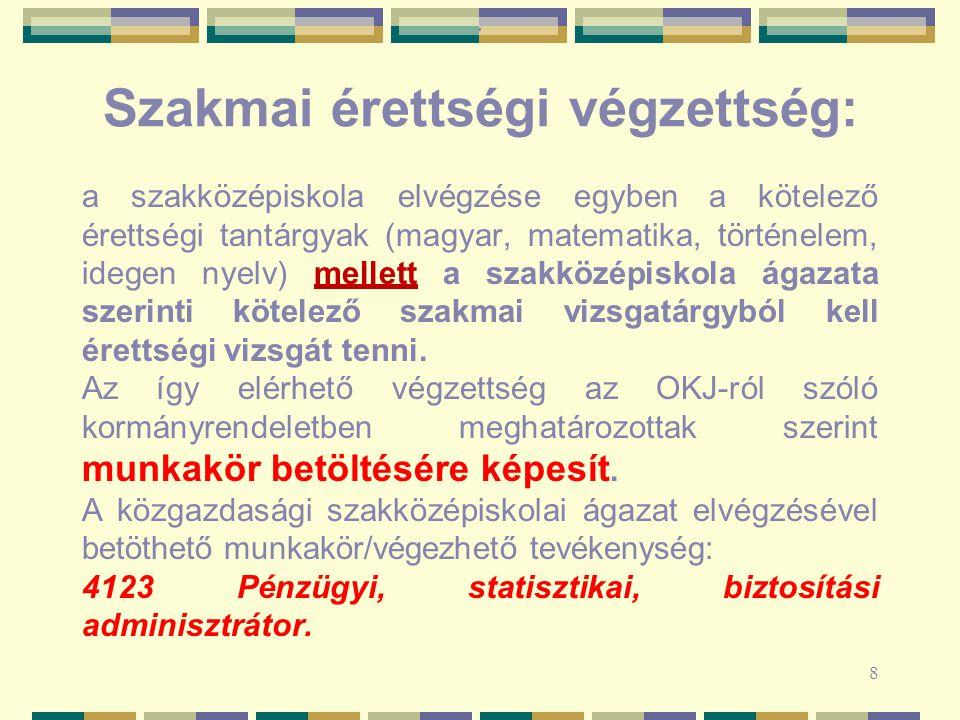 Szakmai érettségi végzettség: a szakközépiskola elvégzése egyben a kötelező érettségi tantárgyak (magyar, matematika, történelem, idegen nyelv) mellet
