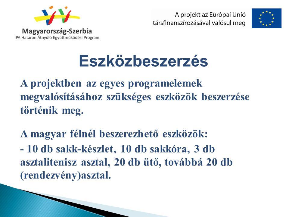 A projektben az egyes programelemek megvalósításához szükséges eszközök beszerzése történik meg. A magyar félnél beszerezhető eszközök: - 10 db sakk-k