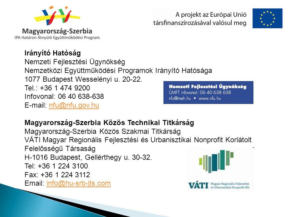 Irányító Hatóság Nemzeti Fejlesztési Ügynökség Nemzetközi Együttműködési Programok Irányító Hatósága 1077 Budapest Wesselényi u. 20-22. Tel.: +36 1 47