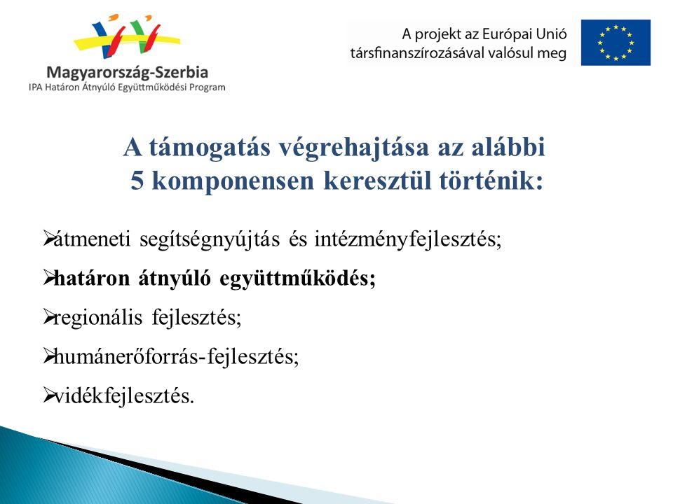 A támogatás végrehajtása az alábbi 5 komponensen keresztül történik:  átmeneti segítségnyújtás és intézményfejlesztés;  határon átnyúló együttműködé